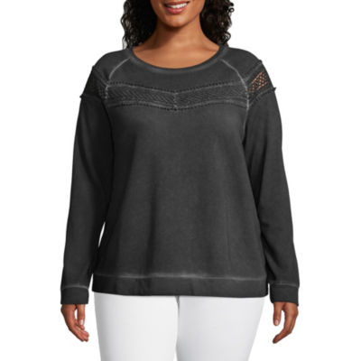 a.n.a Long Sleeve Washed Crochet Sweatshirt - Plus