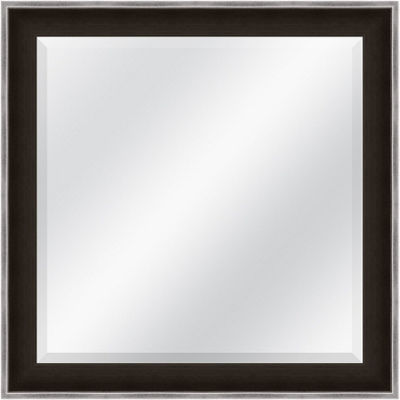Dark Brown and Silver Beveled Plate Square Mirror
