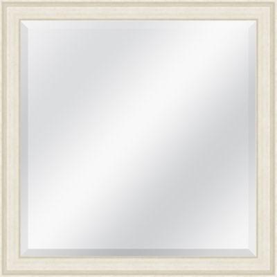 Off White Grain Effect Beveled Plate Square Mirror
