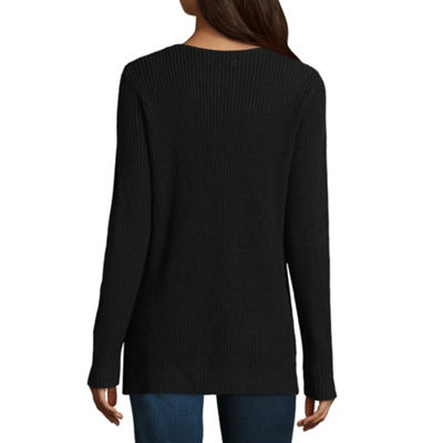 Arizona Womens V Neck Long Sleeve Pullover Sweater-Juniors