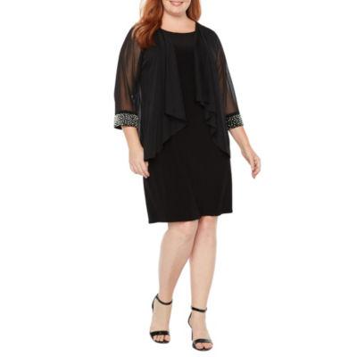 Tiana B 3/4 Sleeve Embellished Jacket Dress - Plus