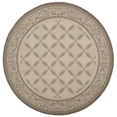 Safavieh Courtyard Collection Anima Geometric Indoor/Outdoor Round Area Rug