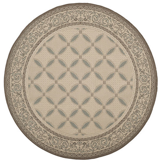 Safavieh Courtyard Collection Anima Geometric Indoor Outdoor Round Area Rug