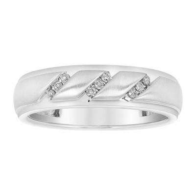 Mens 1/10 CT. T.W. Diamond 3-Row Band 10K White Gold