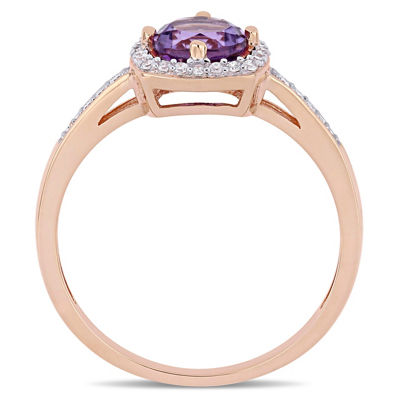 Womens 1/7 CT. T.W. Purple Amethyst 10K Gold Cocktail Ring