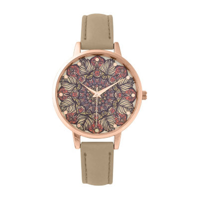 Decree Womens Brown Strap Watch-Pt3166rgtn