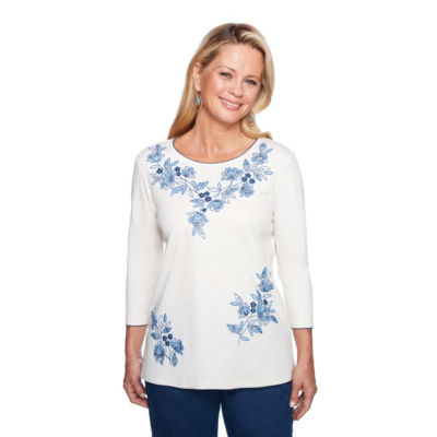 Alfred Dunner Out Of The Blue-Womens Crew Neck 3/4 Sleeve T-Shirt