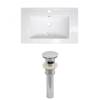 24.25-in. W 1 Hole Ceramic Top Set In White Color- Overflow Drain Incl.
