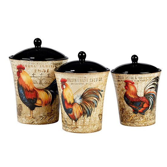 Certified International Gilded Rooster 3-pc. Canister