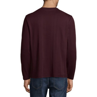 Claiborne Mens V Neck Long Sleeve T-Shirt