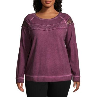 a.n.a Long Sleeve Washed Crochet Sweatshirt - Plus