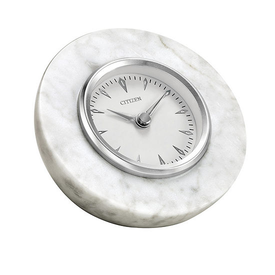 Citizen Genuine White Marble White Table Clock-Cc1020