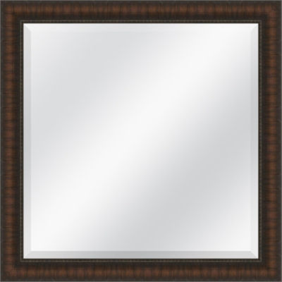 Distressed Brown Beveled Plate Square Mirror