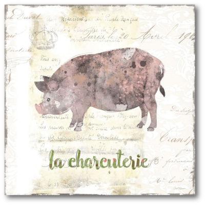 Golden Cuisine Pig Canvas Art