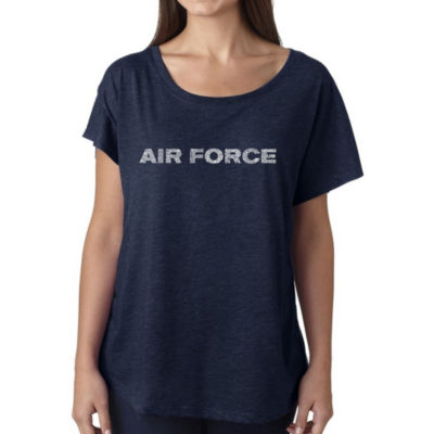 Los Angeles Pop Art Women's Loose Fit Dolman Cut Word Art Shirt - Lyrics To The Air Force Song
