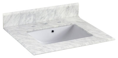 23.5-in. W 19.5-in. D Marble Top With Backsplash In Bianca Carara Color For 3H8-in. Faucet - White UM Sink