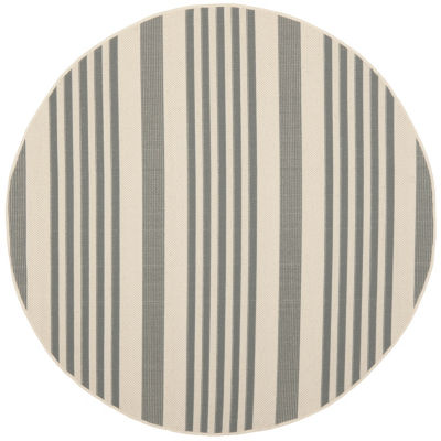 Safavieh Courtyard Collection Santos Stripe Indoor/Outdoor Round Area Rug