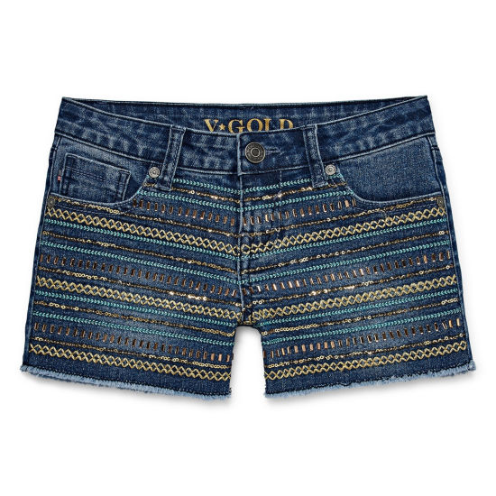 Vgold Denim At Waist Shortie Shorts - Big Kid Girls