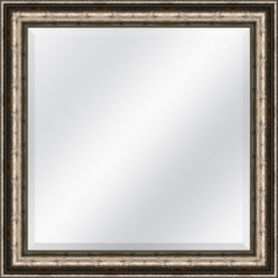 Traditional Silver and Black Speckled Beveled Plate Square Mirror