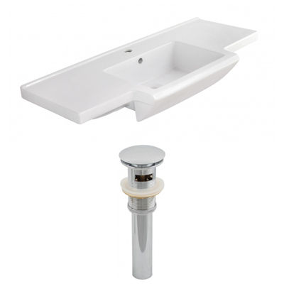 40-in. W 1 Hole Ceramic Top Set In White Color - Overflow Drain Incl.