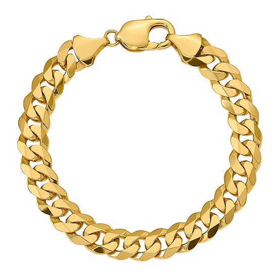 14K Gold 8-9 Inch Solid Curb Chain Bracelet