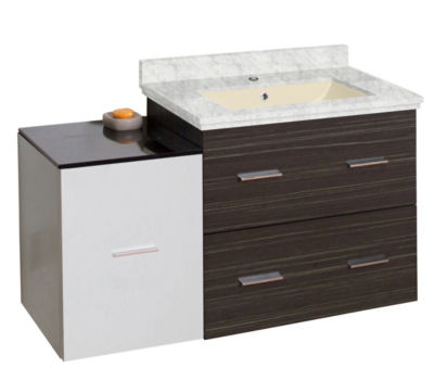 37.75-in. W Wall Mount White-Dawn Grey Vanity SetFor 1 Hole Drilling Bianca Carara Top Biscuit UM Sink