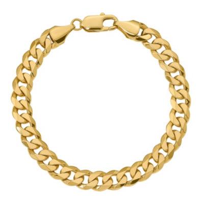 Mens 9 Inch 14K Gold Chain Bracelet