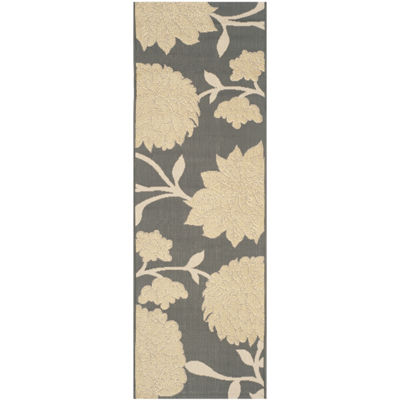 Safavieh Courtyard Collection Bertha Floral Indoor/Outdoor Runner Rug