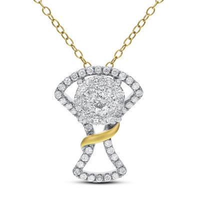 Womens 3/4 CT. T.W. White Diamond 14K Two Tone Gold Pendant Necklace