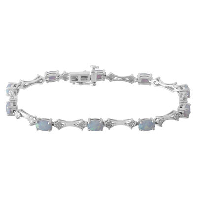Diamond Accent White Opal Sterling Silver 7.25 Inch Tennis Bracelet
