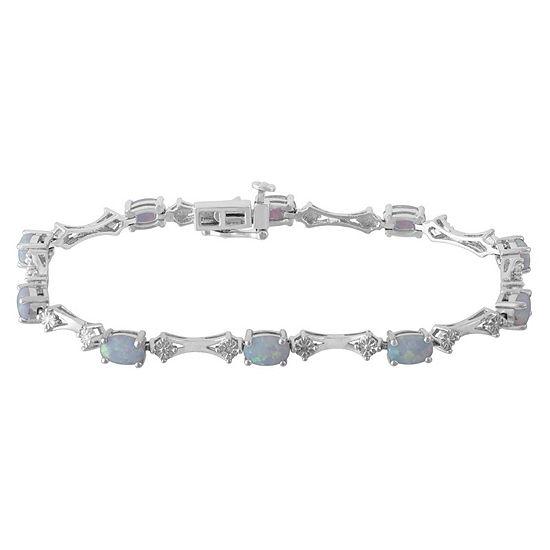 Diamond Accent White Opal Sterling Silver 7.25 Inch Tennis Bracelet