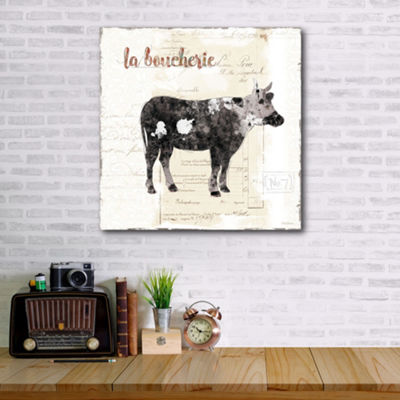 Golden Cuisine Cow Canvas Art