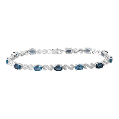 Diamond Accent Blue Topaz Sterling Silver 7.25 Inch Tennis Bracelet