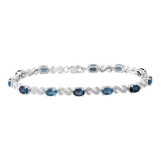 Diamond Accent Blue Topaz Sterling Silver 7.25 Inch Tennis Bracelet