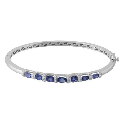 Diamond Accent Purple Tanzanite Sterling Silver Bangle Bracelet