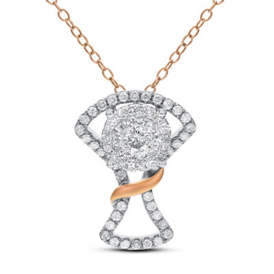 Womens 3/4 CT. T.W. White Diamond 14K Rose Gold 14K White Gold Pendant Necklace