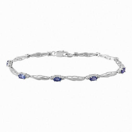 Diamond Accent Purple Tanzanite Sterling Silver 7.25 Inch Tennis Bracelet