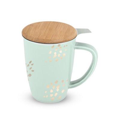 Bailey Champagne Dots Ceramic Tea Mug & Infuser
