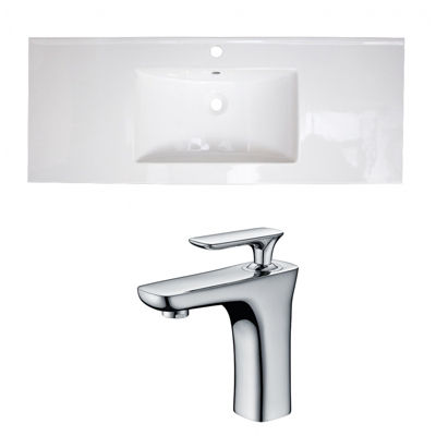 48.75-in. W 1 Hole Ceramic Top Set In White Color- CUPC Faucet Incl.