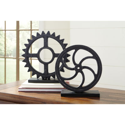 Signature Design By Ashley® Set of 2 Dermot Wood Gear Sculptures