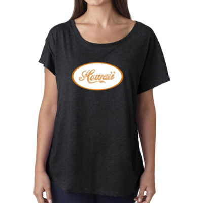 Los Angeles Pop Art Women's Loose Fit Dolman Cut Word Art Shirt - HAWAIIAN ISLAND NAMES & IMAGERY