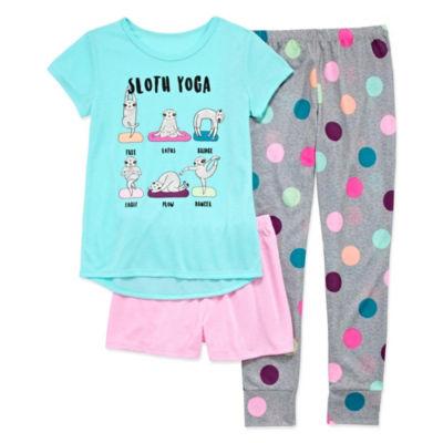 Arizona 3pc. Sloth Pajama Set - Girls 4-16 & Plus