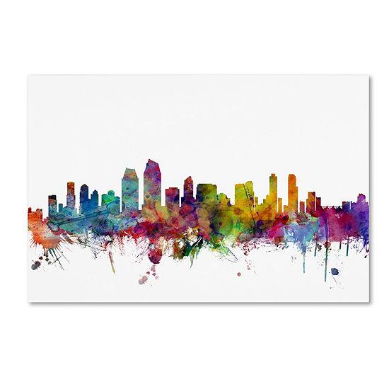 Trademark Fine Art Michael Tompsett San Diego California Skyline Giclee Canvas Art