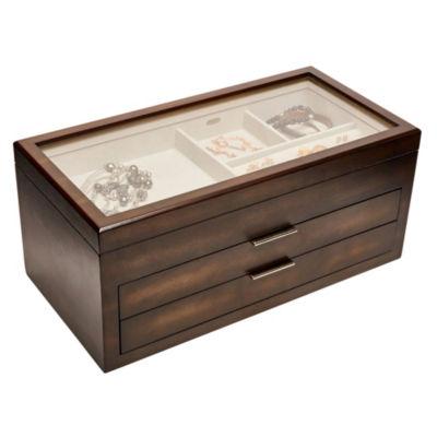 Mele & Co. Nova Glass Top Wooden Jewelry Box