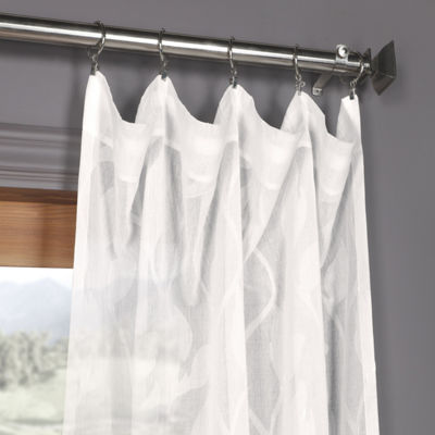 Exclusive Fabrics & Furnishing Avignon Vine Faux Linen Sheer Rod-Pocket Curtain Panel