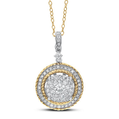 Womens 3/4 CT. T.W. White Diamond 14K Two Tone Gold Pendant Necklace