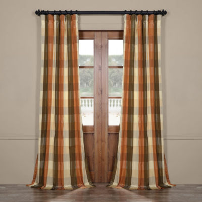 Exclusive Fabrics & Furnishing Cumbria Faux Silk Plaid Rod-Pocket/Back-Tab Curtain Panel