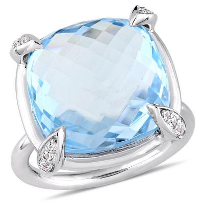 Womens Genuine Blue Topaz 14K White Gold Cocktail Ring