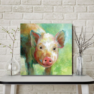 Colorful Quirky Pig Canvas Art