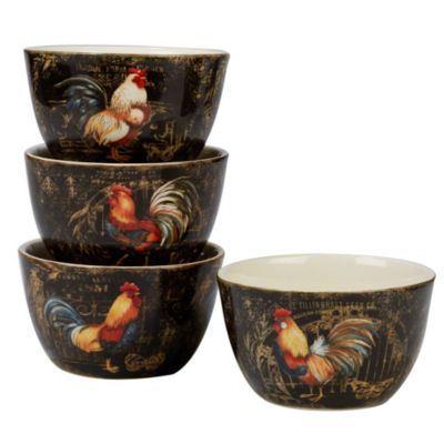 Certified International Gilded Rooster 4-pc. Ice Cream Bowl